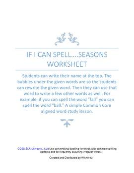 Seasons Word Study Lesson Work Sheet