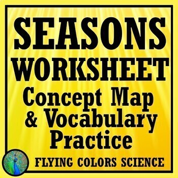 Seasons Worksheet - Challenging Concept Map & Vocab Practice NGSS MS-ESS1-1