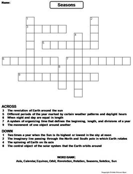 seasons worksheet crossword puzzle by science spot tpt. Black Bedroom Furniture Sets. Home Design Ideas