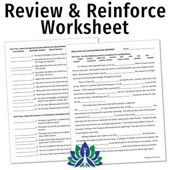 Seasons Worksheet or Homework (middle school) NGSS MS-ESS1-1