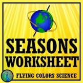 Seasons Worksheet or Homework (middle school) NGSS MS-ESS1-1