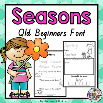 seasons worksheets qld beginners font by my little lesson tpt. Black Bedroom Furniture Sets. Home Design Ideas