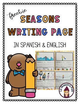 Seasons Writing Page in Spanish and English