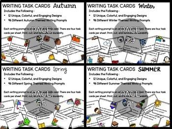 Seasons Writing Task Cards