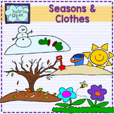 Seasons and Clothes clipart {Line art and Colored}