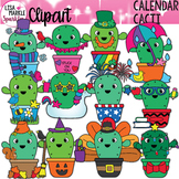 Seasons and Holidays Cactus Calendar Month Clipart