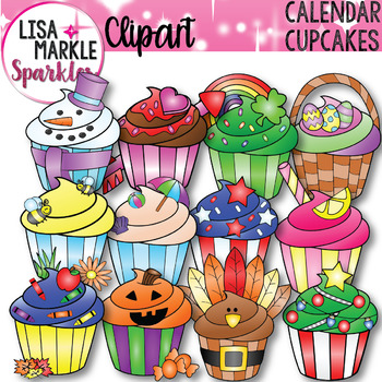 Seasons and Holidays Cupcake of the Month Clipart