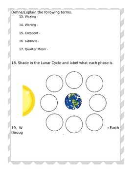 Seasons and Moon Phases Test - EDITABLE
