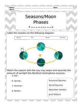 Seasons and Moon Phases Test - EDITABLE