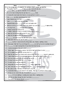 Seasons and Weather 1 Page BW Worksheet