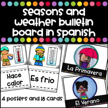 Seasons and Weather Bulletin board and posters in Spanish
