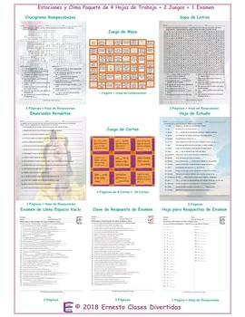 Seasons and Weather Spanish 4 Worksheet-2 Game-1 Exam Bundle
