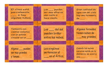 Seasons and Weather Spanish Card Game