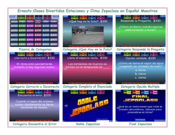 Seasons and Weather Spanish Jeopardy Game