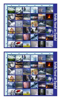 Seasons and Weather Spanish Legal Size Photo Battleship Game