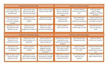 Seasons and Weather Spanish Tic-Tac-Toe or Bingo Game
