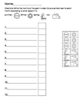Seasons and months worksheet
