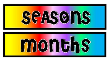 Seasons ,Months & Days of week labels/signs