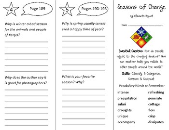 Seasons of Change Trifold - Open Court 3rd Grade Unit 2 Lesson 2