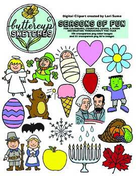 Calendar Fun: 64 unique holiday and calendar clip art images