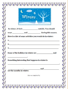 Seasons of the Year: A Project Based Learning Activity