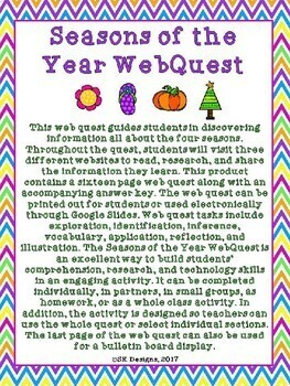 Seasons of the Year WebQuest {Includes Google Slides option}
