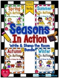 Seasons on the Go Bundle | Grammar On the Go | Verbs Write the Room Activities