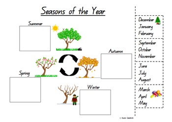 seasons worksheet cut and paste by aussie classroom tpt. Black Bedroom Furniture Sets. Home Design Ideas