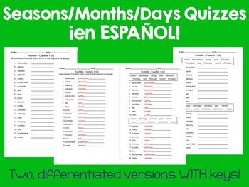 Seasons/Months/Days Quizzes (Estaciones/Meses/Días) Español DIFFERENTIATED!