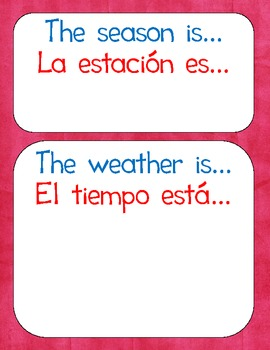 Seasons/Weather for Calendar Wall {Bilingual}