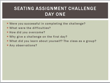 Seat Assignment Challenge - First Week of School