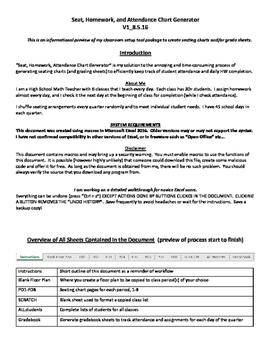 Seat Homework and Attendance Chart Sheet Generator