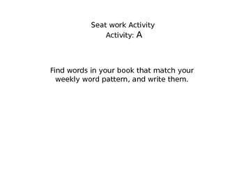 Seat Work Activity Cards