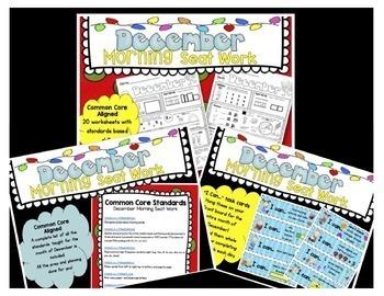 Seat Work - Homework - WINTER BUNDLE - Kindergarten - CCSS