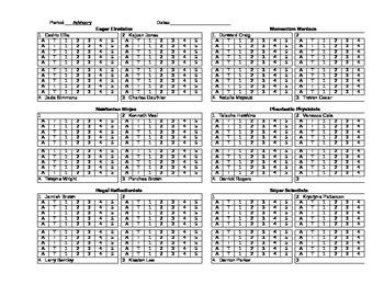 Seating - Behavior - Attendance Chart