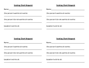 Seating Chart Request Form