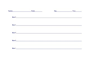 Seating Chart Template - Rows