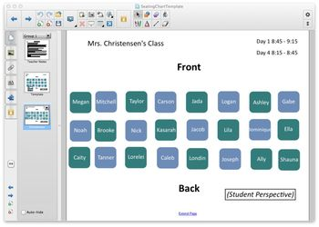 Seating Chart Template: SMART Notebook, Student Perspective, Color-Coded