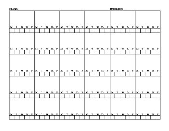 Seating Chart with 5 Days/Week Under Each Student