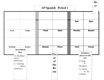 Seating Charts for Spanish or French Classroom