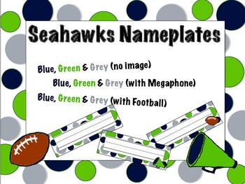 Seattle Seahawks Themed Nameplates/Classroom Labels