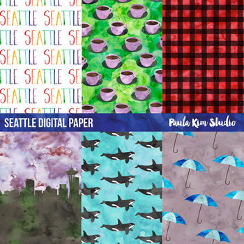 Seattle Watercolor Digital Paper