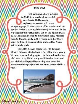 Sebastian Vizcaino: California Explorer - Engaging Close Reading and Activities