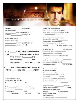 Sebastian Yatra - 'Como Si Nada' Cloze Song Sheet! Spanish!