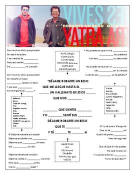 Sebastian Yatra - 'Robarte Un Beso' Cloze Song Sheet!