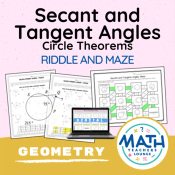 Secant and Tangent Angles (Circle Theorems)- Puzzle Worksheet
