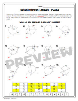 secant and tangent angles circle theorems puzzle worksheet tpt. Black Bedroom Furniture Sets. Home Design Ideas