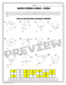 Geometry Circle Theorems: Secant and Tangent Angles - Puzzle Worksheet