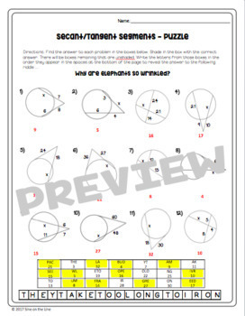 Secant and Tangent Segments - Puzzle Worksheet