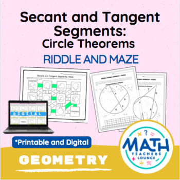 Geometry Circle Theorems Secant And Tangent Segments Puzzle Worksheet